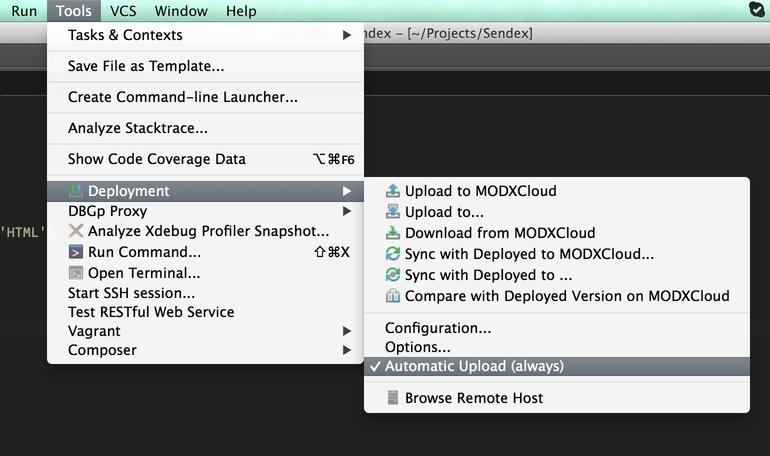 Customize the workplace: MODXCloud + PhpStorm - Creating